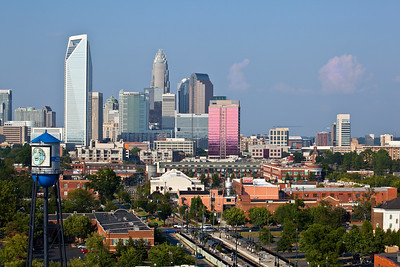 Charlotte skyline taken from Historic South End, pretty pink clouds, South End Water TowerAugust 2010