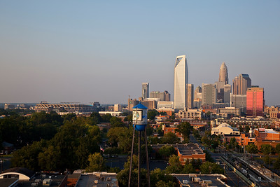 Charlotte skyline with the Panthers StadiumTaken late afternoon with the sun shining on the buildingsAugust 2010
