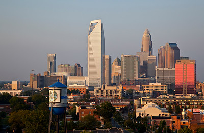 Charlotte skyline with South End Water TowerAugust 2010