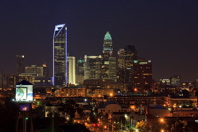 Charlotte Skyline - Duke Energy Center Tower lit up in blue.  (Southend Water Tower in the left corner.)August 2010