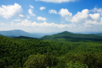 Blue Ridge Mountains in the Summer.  View near Grandfather Mountain - Soft Glow Effect
