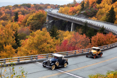 Ford Model A's cruising the Parkway!October 11, 2009 - Linn Cove Viaduct in the Autumn - Blue Ridge Parkway
