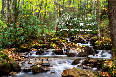 Autumn forest and mountain streamJames 4:8 Draw near to God and He will draw near to you