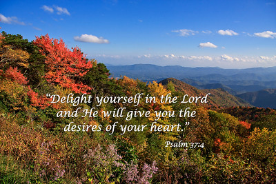 The Blue Ridge Mountains in the FallDelight yourself in the Lord and He will give you the desires of your heart.   Psalm 37:4